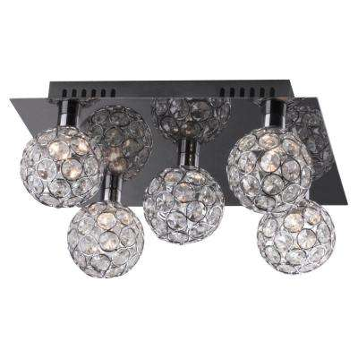 5-Light Chrome Ceiling Lamp with Balls and Beads