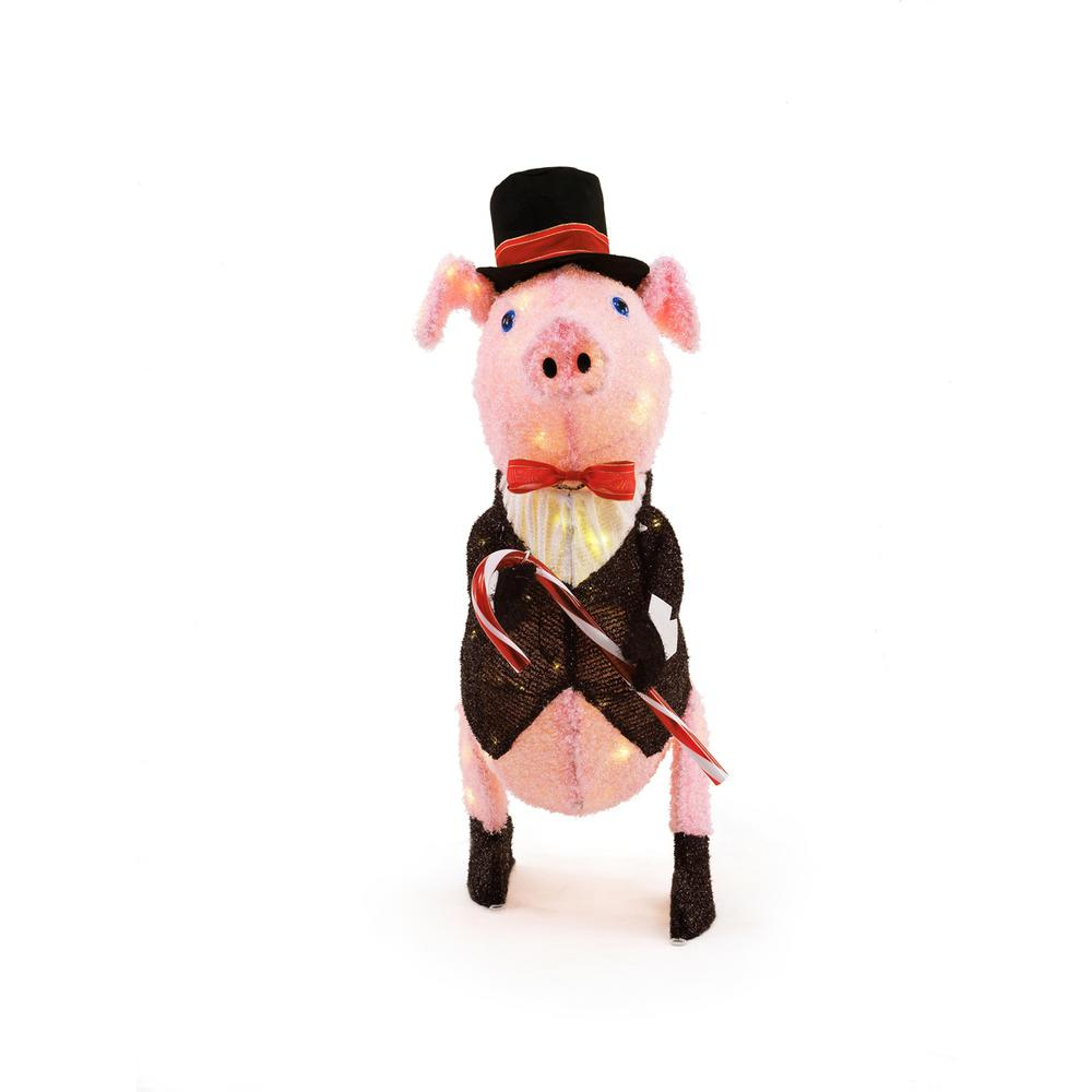 Home Accents Holiday 27IN 80L LED PINK PIG IN TUXEDO-TY405