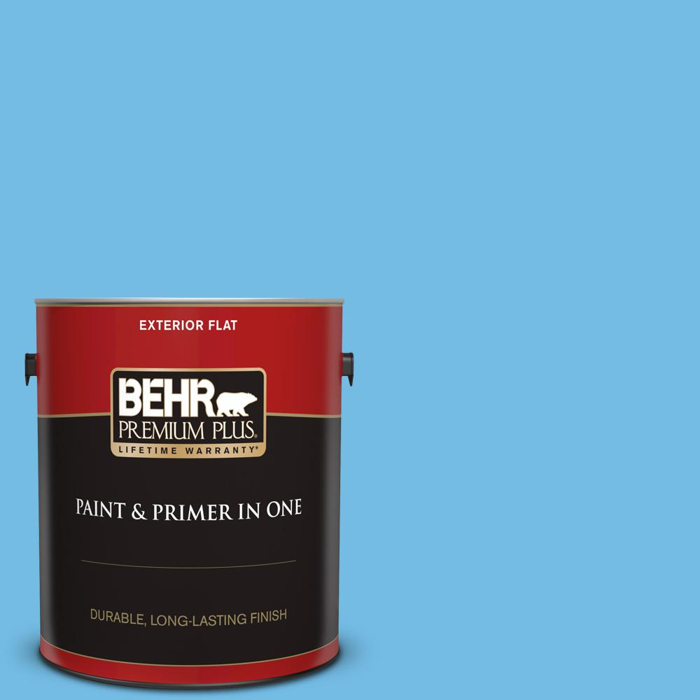 Reviews For Behr Premium Plus 1 Gal 550b 4 Costa Rica Blue Flat Exterior Paint And Primer In One 440001 The Home Depot