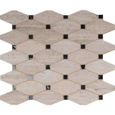 Bayview Elongated Octagon 12 in. x 12 in. x 10 mm Glass Metal Mesh-Mounted Mosaic Tile (10 sq. ft. / case)