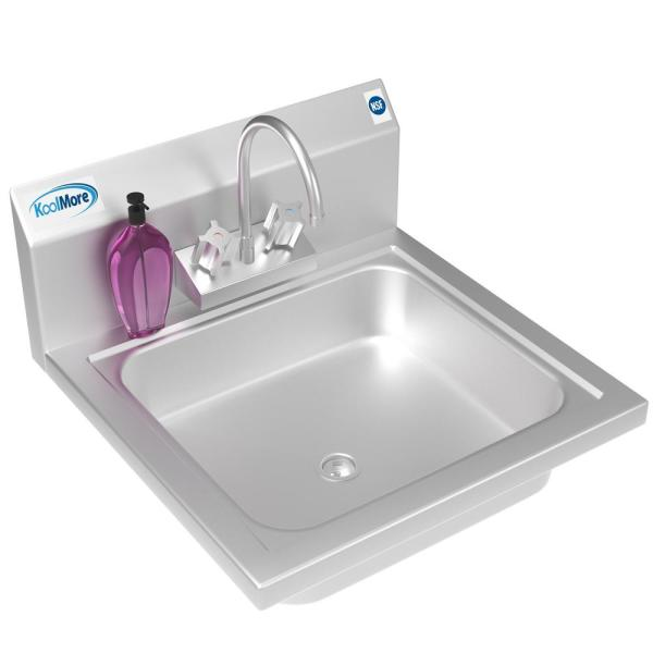 Koolmore Stainless Steel 17 In Single Bowl Wall Mounted Kitchen Sink With Faucet Chs17 4gf The Home Depot