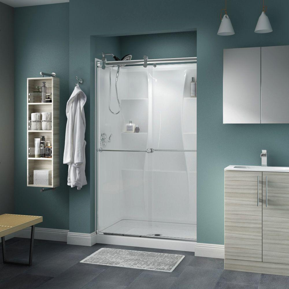 Crestfield 48 in. x 71 in. Semi-Frameless Contemporary Sliding Shower Door