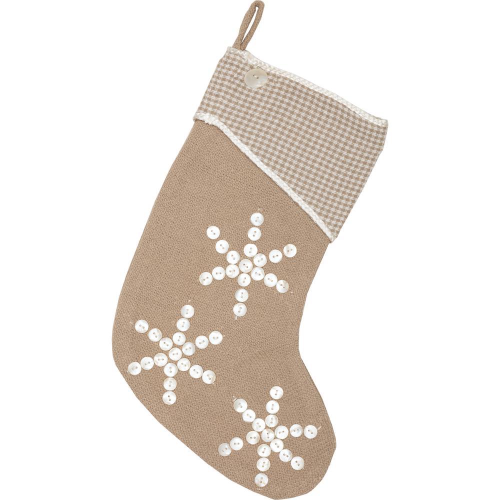 cotton pearlescent natural tan coastal christmas decor stocking - Coastal Christmas Stockings