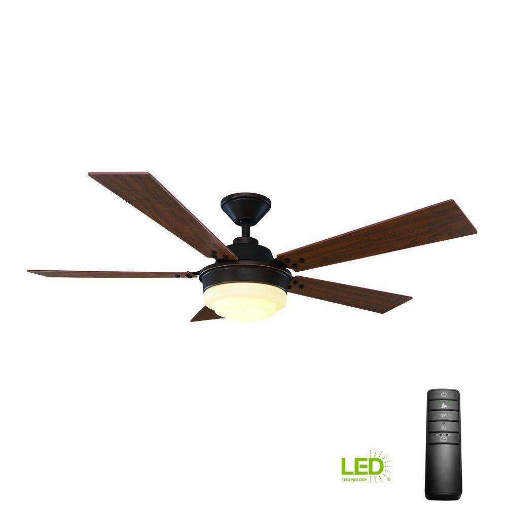 Home Decorators Collection Emswell 52 In Led Indoor Mediterranean Bronze Ceiling Fan With Light Kit