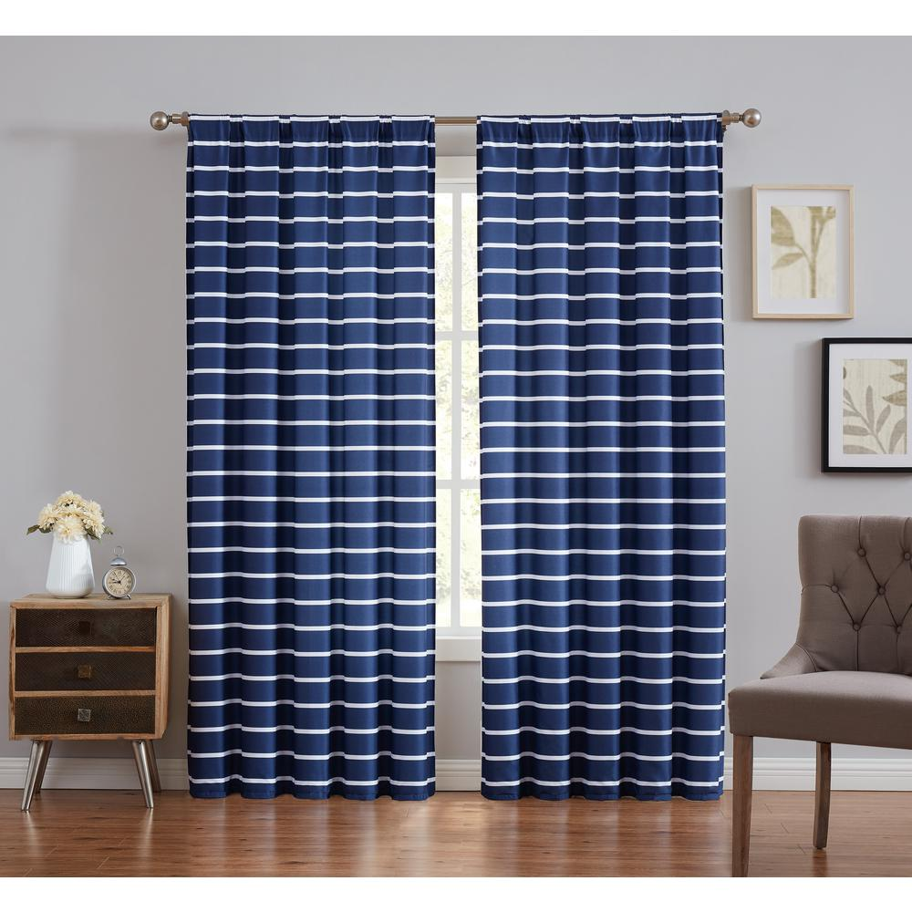 Truly Soft Maddow Navy Light Filtering Window Panel Pair - Stripe 50 in. W x 84 in. L