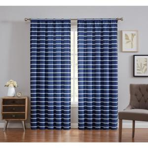 Maddow Navy Light Filtering Window Panel Pair - Stripe 50 in. W x 84 in. L