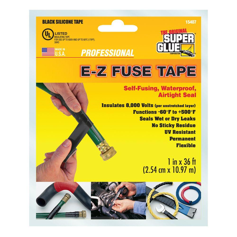 Super Glue 1 In X 36 Ft Black E Z Fuse Silicone Tape 12 Pack Pull Box Home