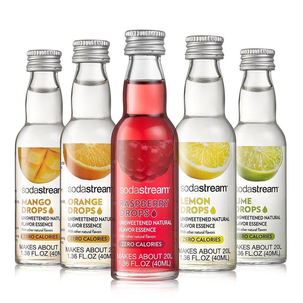 SodaStream SodaStream 40 ml Variety Pack Fruit Drops in Lemon, Raspberry, Lime, Orange and Mango (Case of 5)