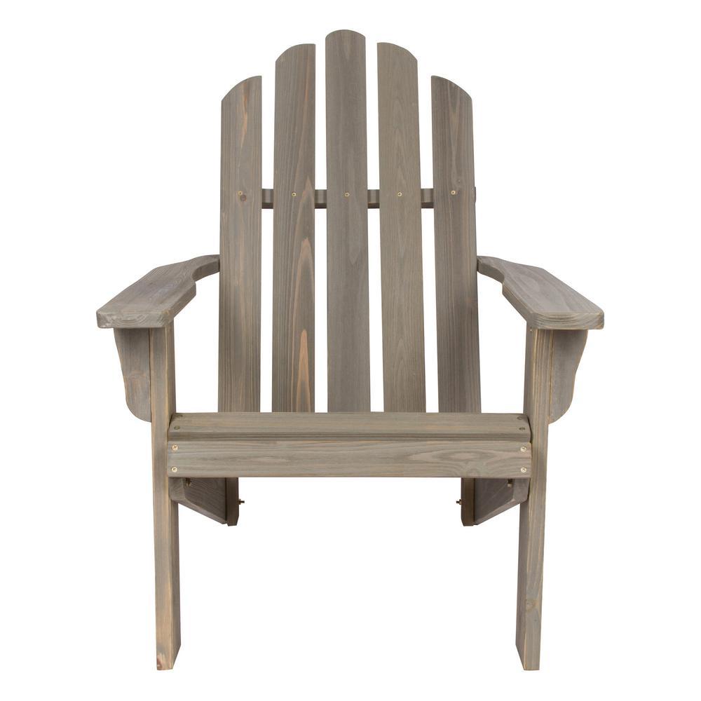 Beautiful Shine Company Marina Vintage Gray Rustic Cedar Wood Adirondack Chair