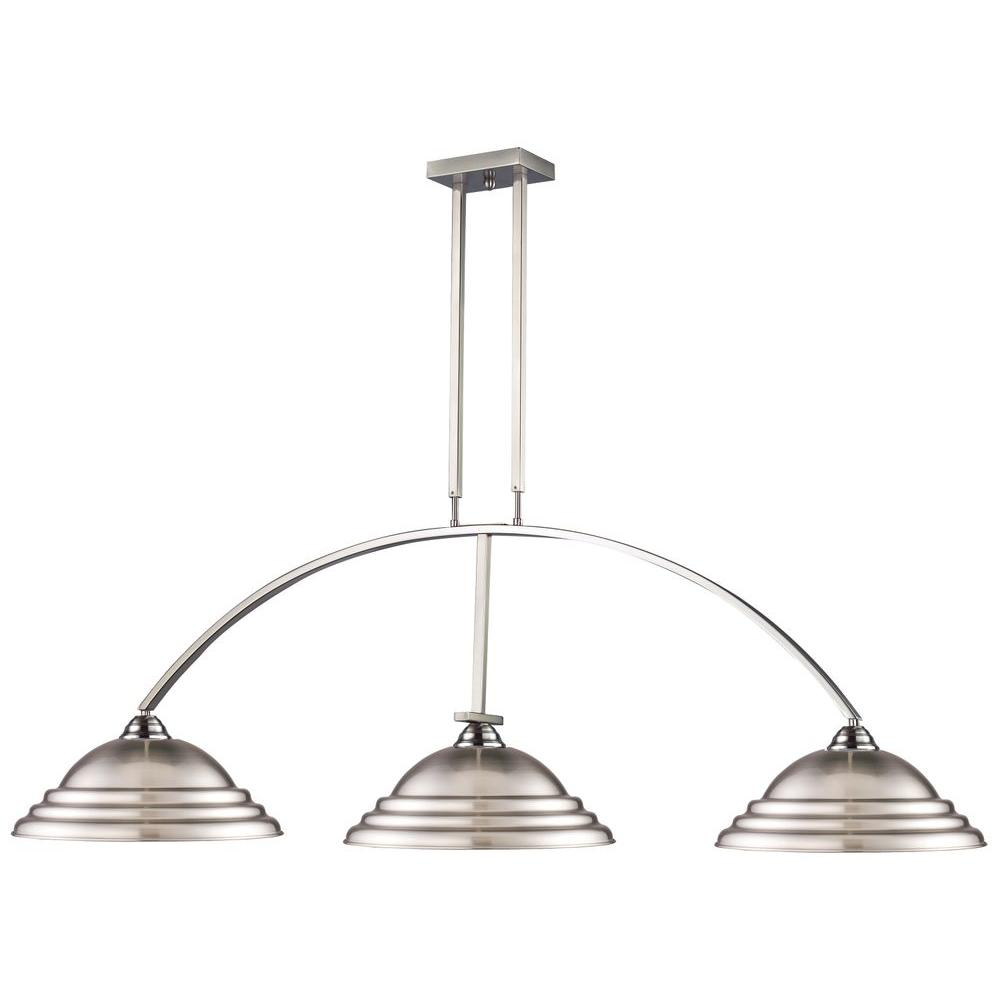 Bell 3-Light Brushed Nickel Island Light