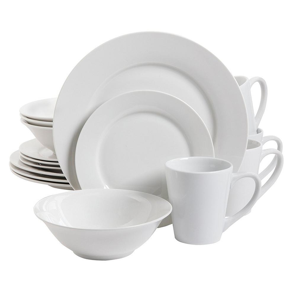 Noble Court 16-Piece Contemporary White Porcelain Dinnerware Set (Service for 4)