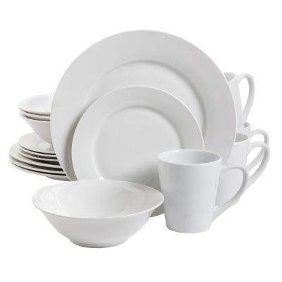 Noble Court 16-Piece Fine Ceramic White Dinnerware Set