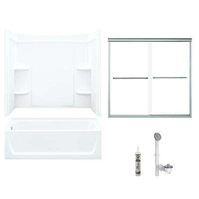 Ensemble 32 in. x 60 in. x 75 in. Bath and Shower Kit with Left-Hand Above-Floor Drain and Backers in White and Chrome
