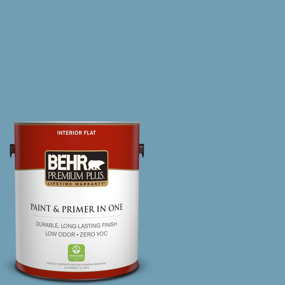 BEHR Premium Plus 1-gal. #S480-4 Saga Blue Flat Interior Paint