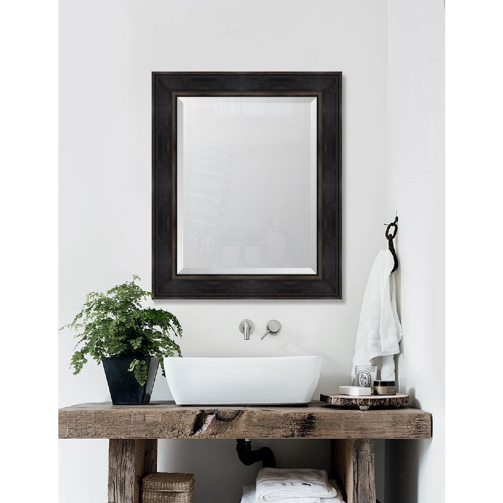 31 in. x 37 in. Framed Walnut English Pine Mirror