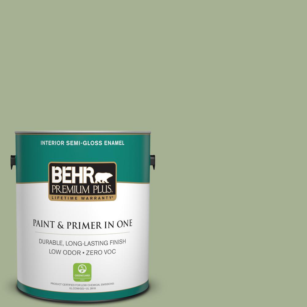 1 gal. #PPU11-06 Willow Grove Zero VOC Semi-Gloss Enamel Interior Paint