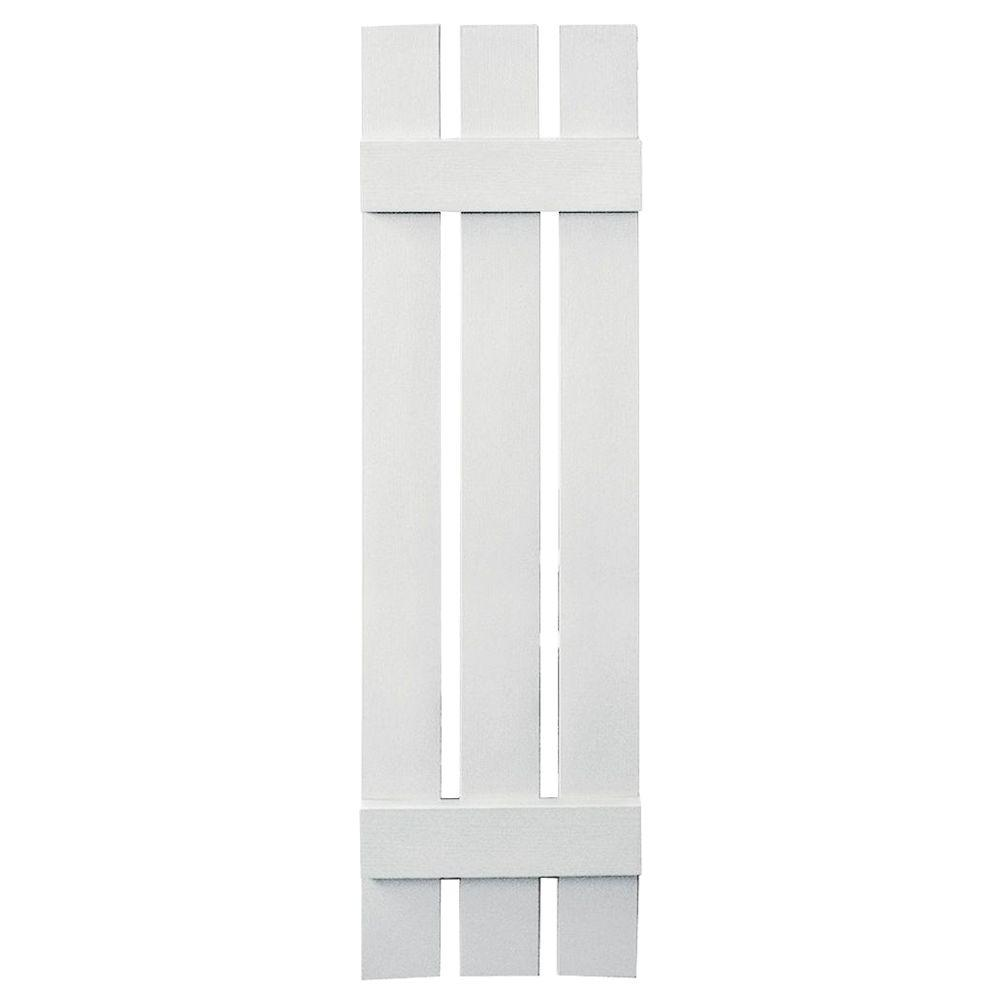 Builders Edge 12 in. x 47 in. Board-N-Batten Shutters Pair, 3 Boards Spaced #117 Bright White