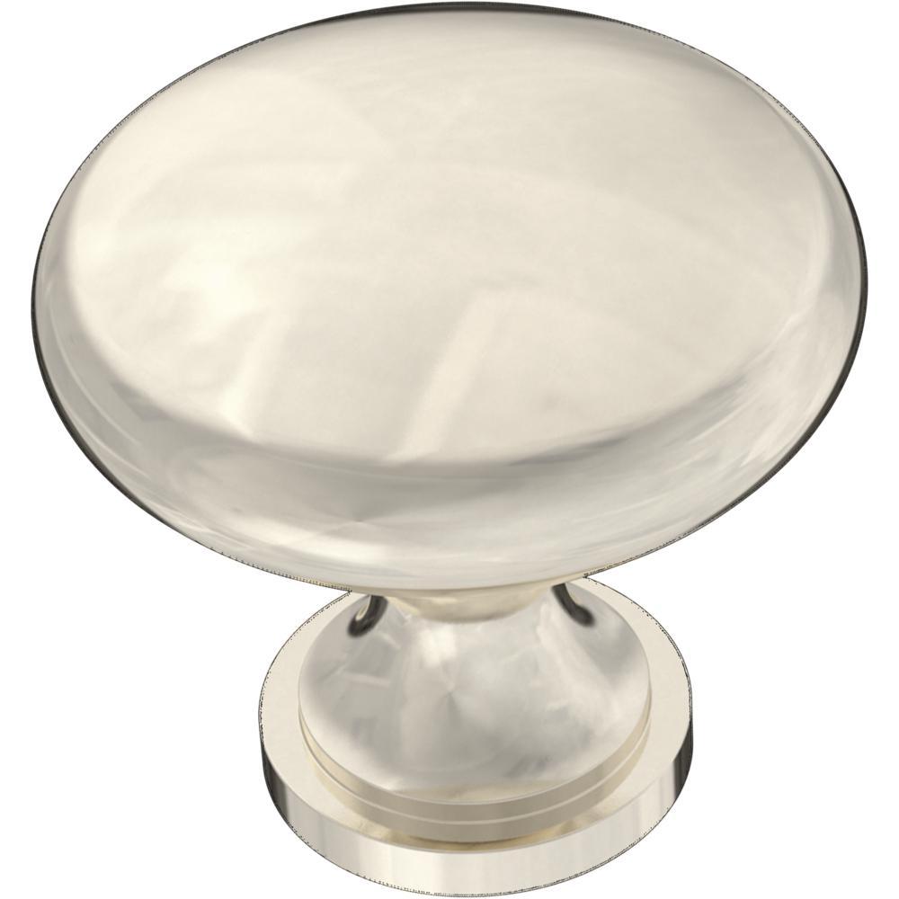 Essentials 1-3/16 in. (30 mm) Nickel Plated Round Cabinet Knob (12-Pack)