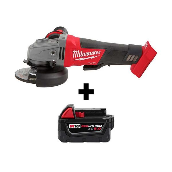 M18 FUEL 18-Volt Lithium-Ion Brushless Cordless 4-1/2 in./5 in. Grinder with Paddle Switch with M18 5.0Ah Battery