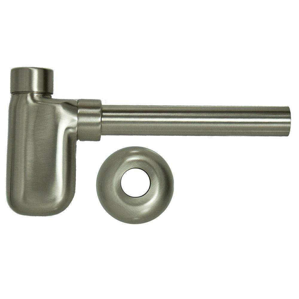 Brass Decorative Lavatory Trap in Brushed Nickel