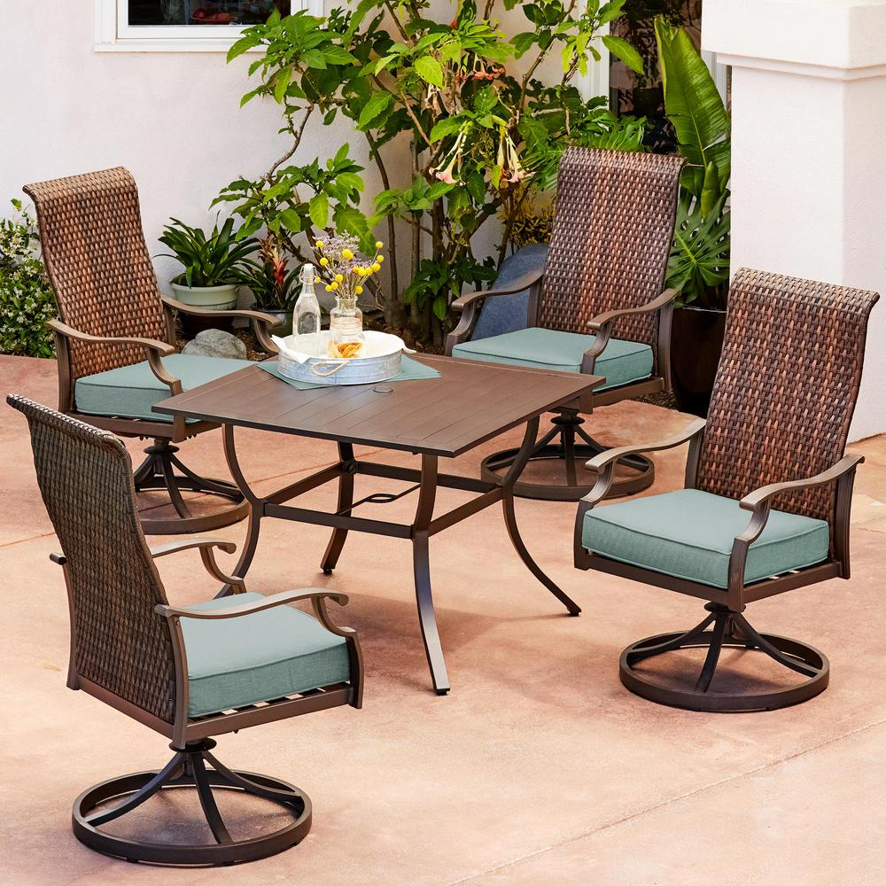 oakland living tuscany resin wicker 5 piece swivel patio. Black Bedroom Furniture Sets. Home Design Ideas