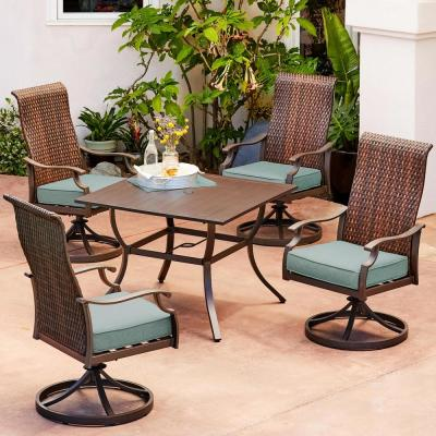 Rhone Valley 5-Piece Wicker Motion Outdoor Dining Set with Teal Cushions