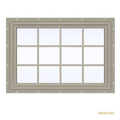 47.5 in. x 35.5 in. V-2500 Series Desert Sand Vinyl Fixed Picture Window with Colonial Grids/Grilles