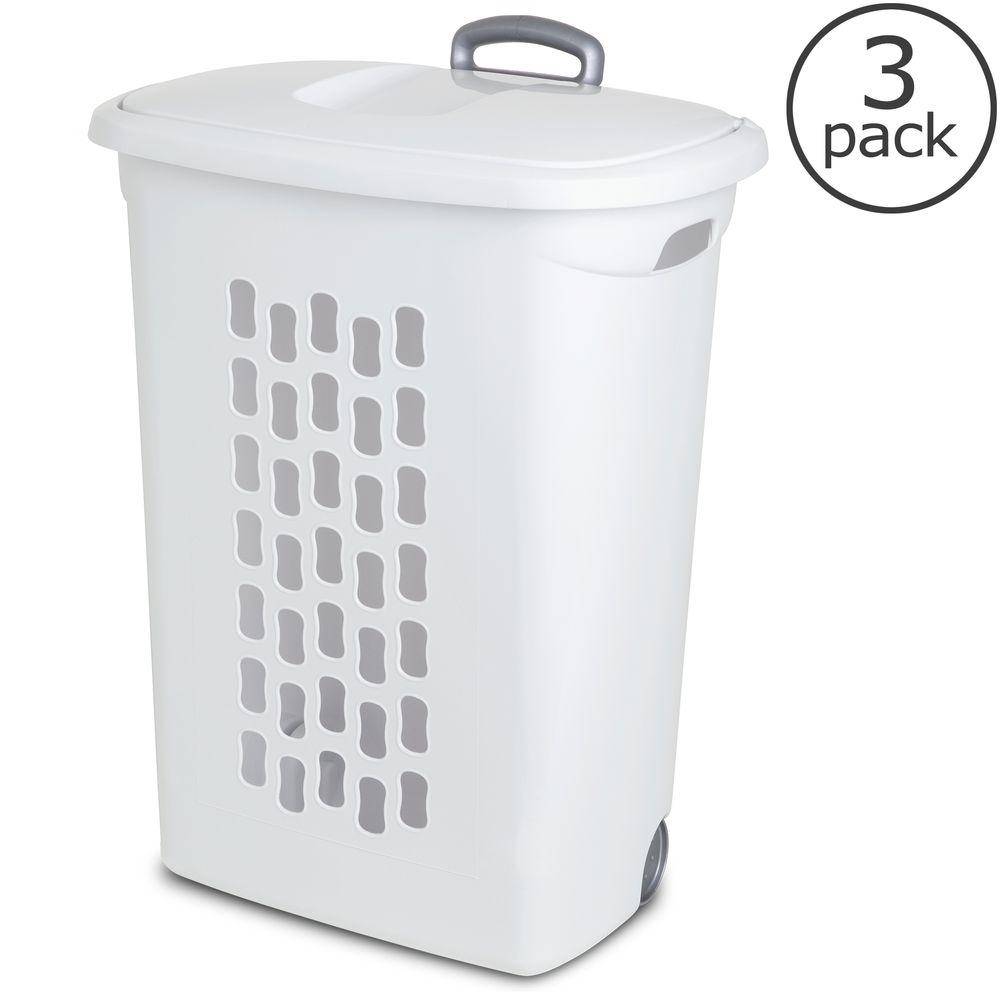 Plastic Laundry Rubber Rolling Hamper Basket Carry Organizer w//Wheels Set