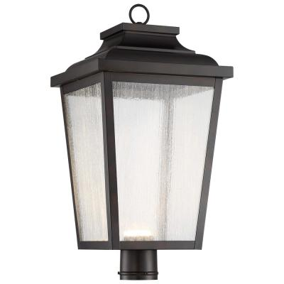 Irvington Manor 1-Light Outdoor Chelesa Bronze Integrated LED Post Light