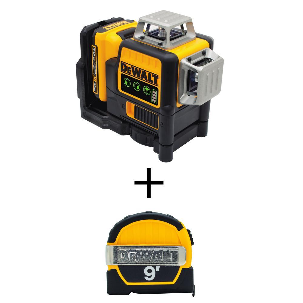 Dewalt 12 Volt Max Li Ion 100 Ft Green Self Leveling 3 Beam 360 Degree Laser Level With Bonus 9 Ft X 1 2 In Tape Measure Dw089lg Quw3028 The Home Depot