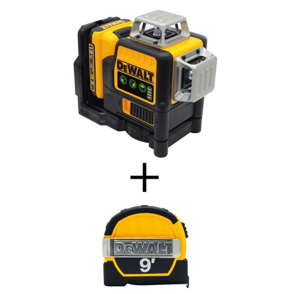 12-Volt MAX Li-Ion 100 ft. Green Self-Leveling 3-Beam 360-Degree Laser Level with Bonus 9 ft. x 1/2 in. Tape Measure