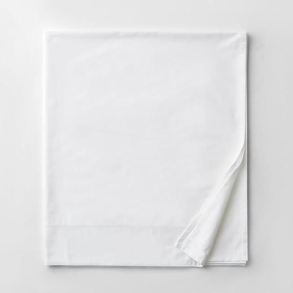 Organic White Solid 300-Thread Count Organic Sateen Full Flat Sheet