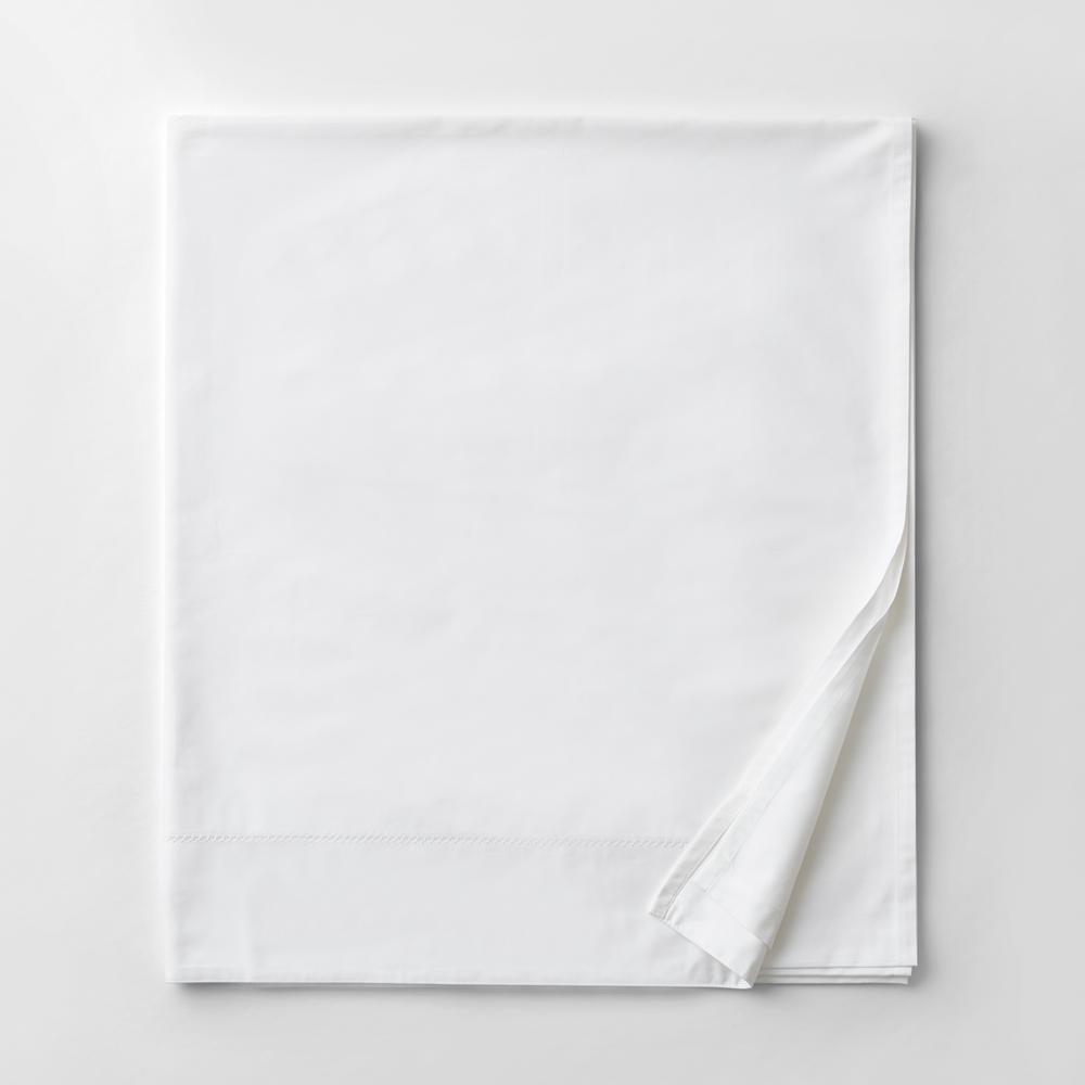Organic White Solid 300-Thread Count Organic Sateen Queen Flat Sheet