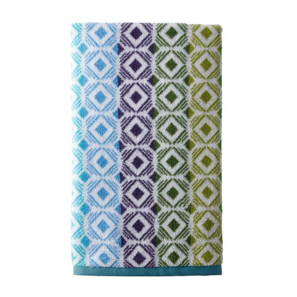 The Company Store Facets Cotton Single Hand Towel in Teal Multi