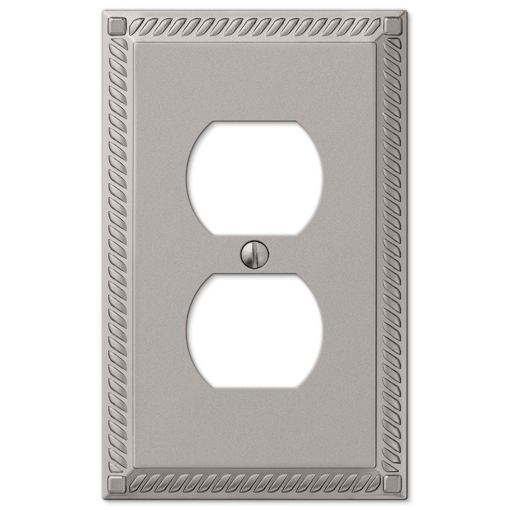 Georgian 1 Duplex Outlet Plate - Satin Nickel Cast
