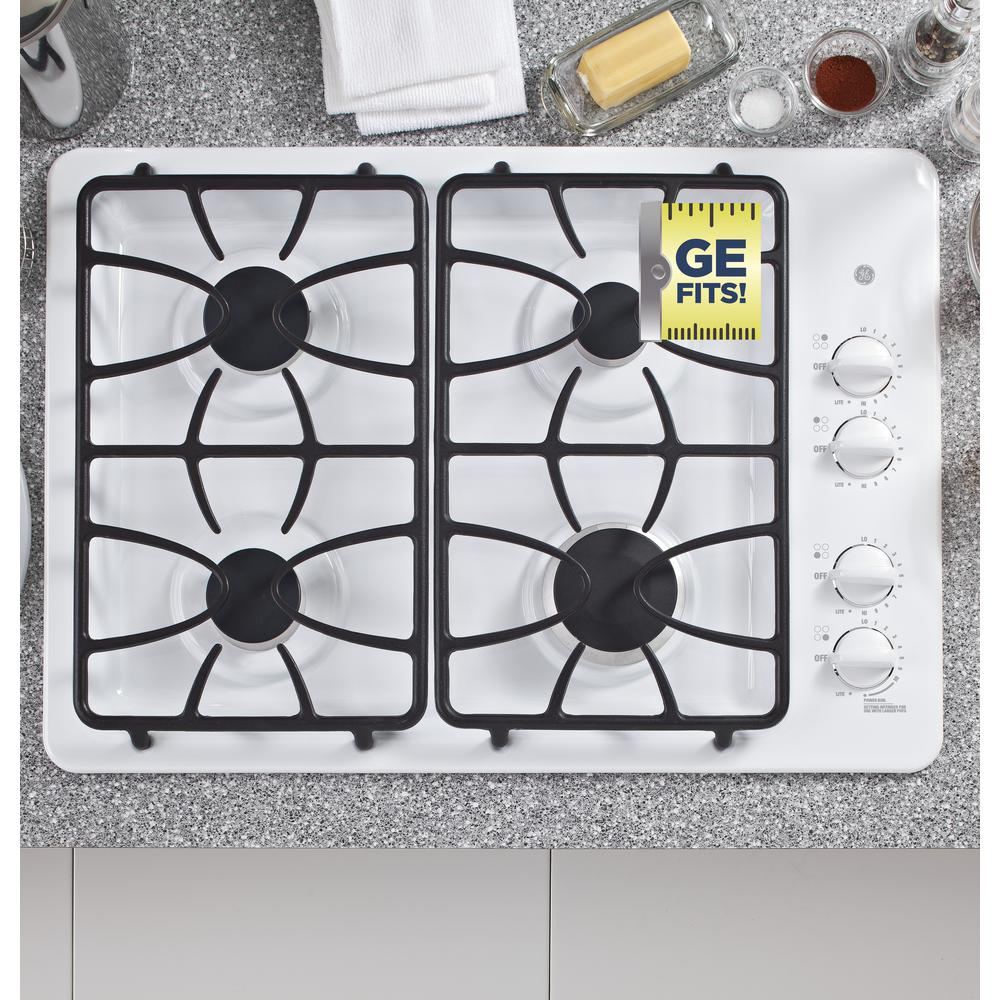 GE 30 in. Gas Cooktop in White with 4 Burners including Power Boil Burner