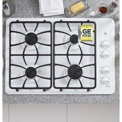 30 in. Gas Cooktop in White with 4 Burners including Power Boil Burner