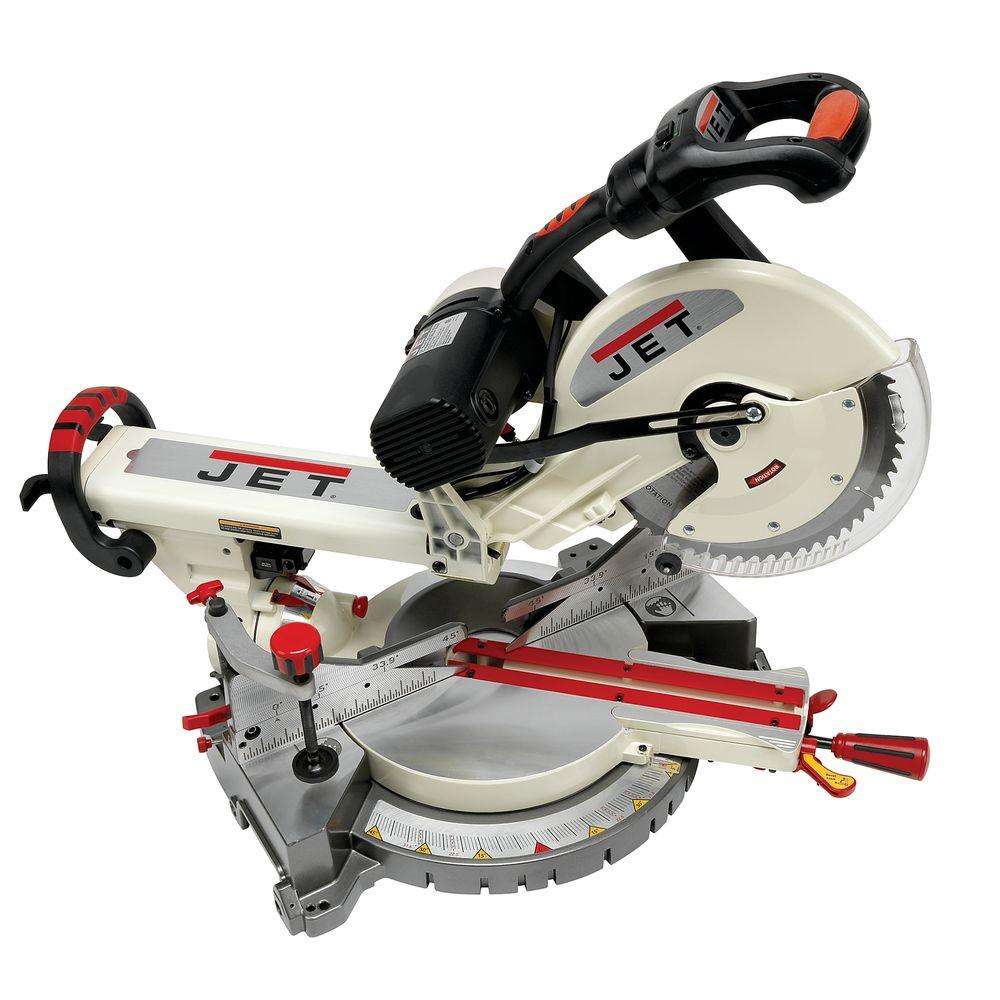 JET 12 in. Corded Sliding Dual Bevel Compound Miter Saw w...