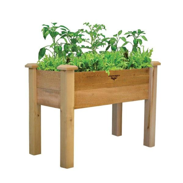 18 in. x 34 in. x 32 in. - 10 in. D Rustic Raised Garden Bed