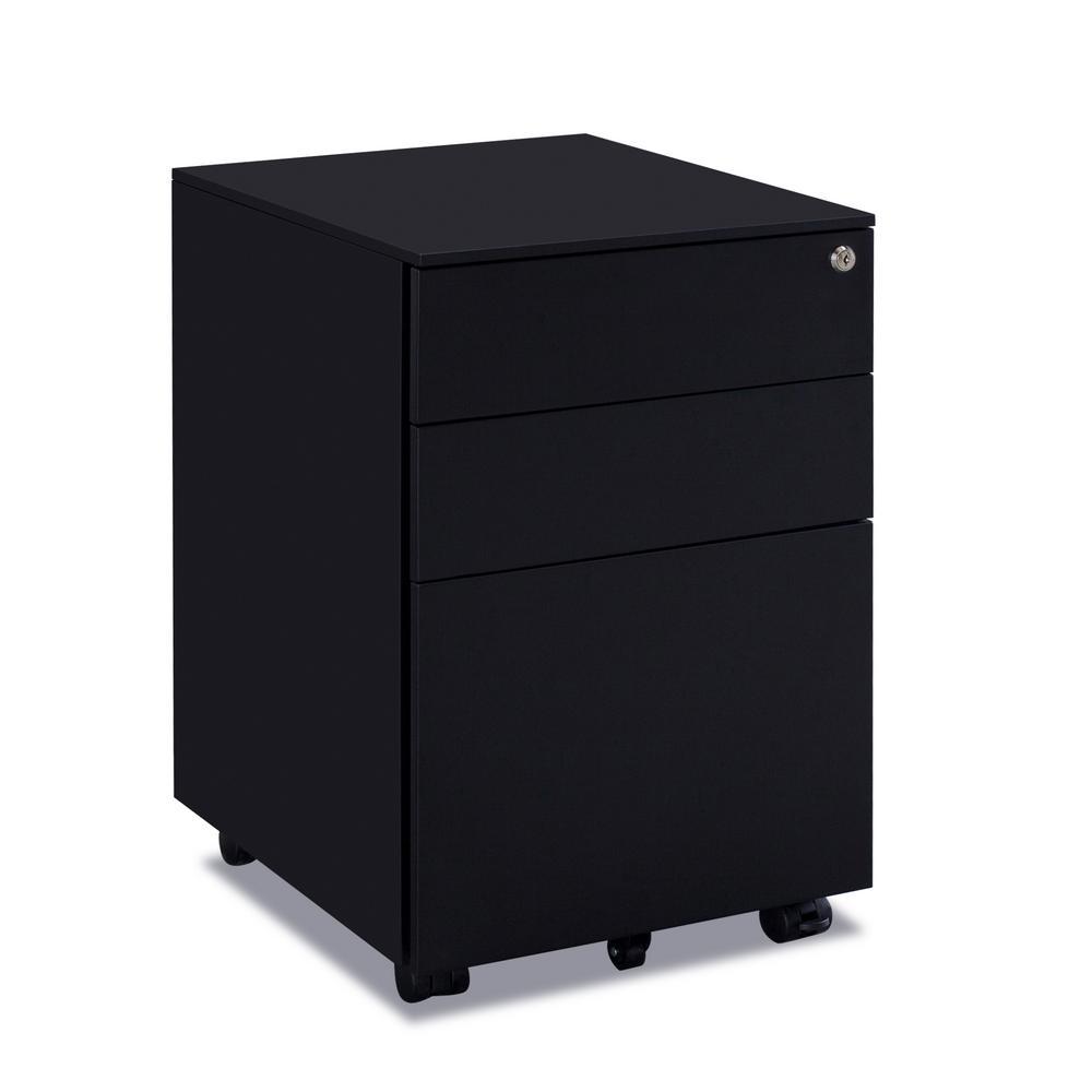 Black 3-Drawers Metal File Cabinet Fully Assembled Except for Castors