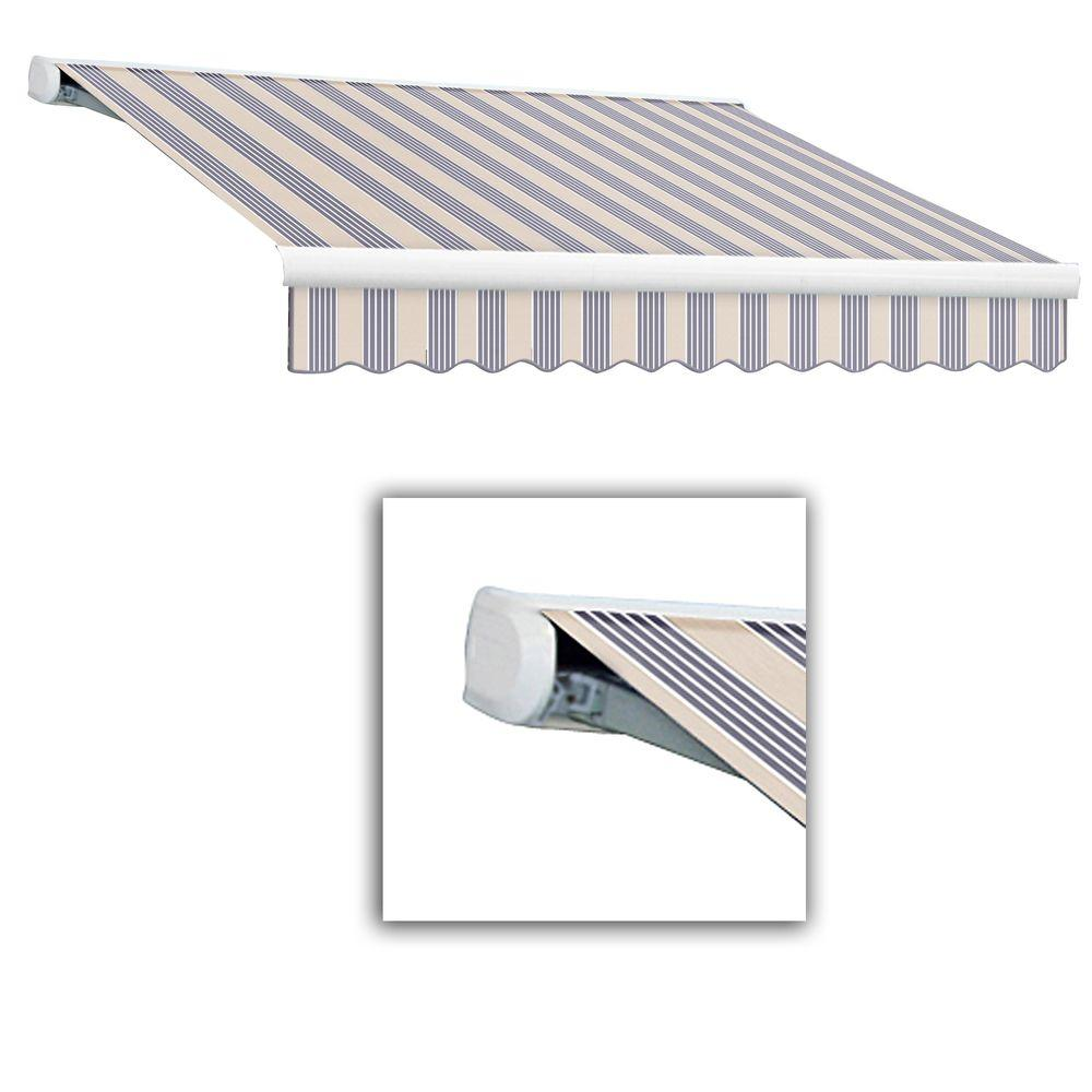 AWNTECH 12 ft. Key West Full-Cassette Left Motor Retractable Awning with Remote (120 in. Projection) in Dusty Blue Multi