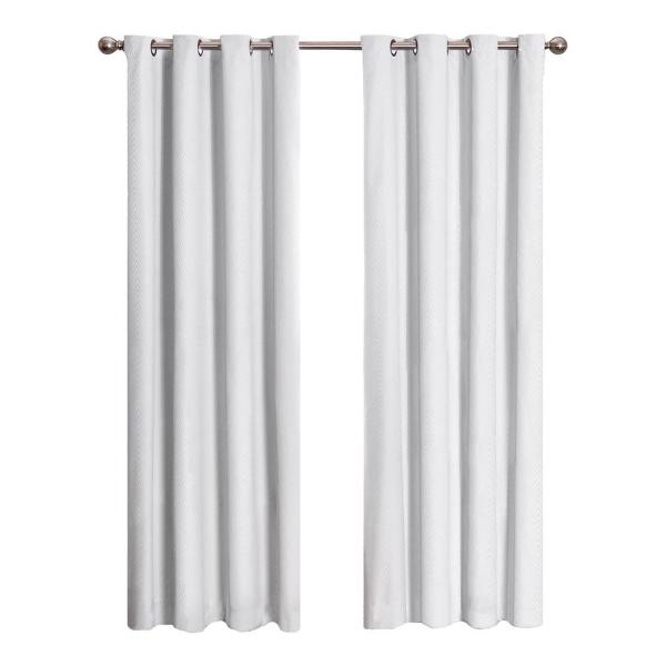 Cassidy Blackout Window Curtain Panel in White - 52 in. W x 84 in. L