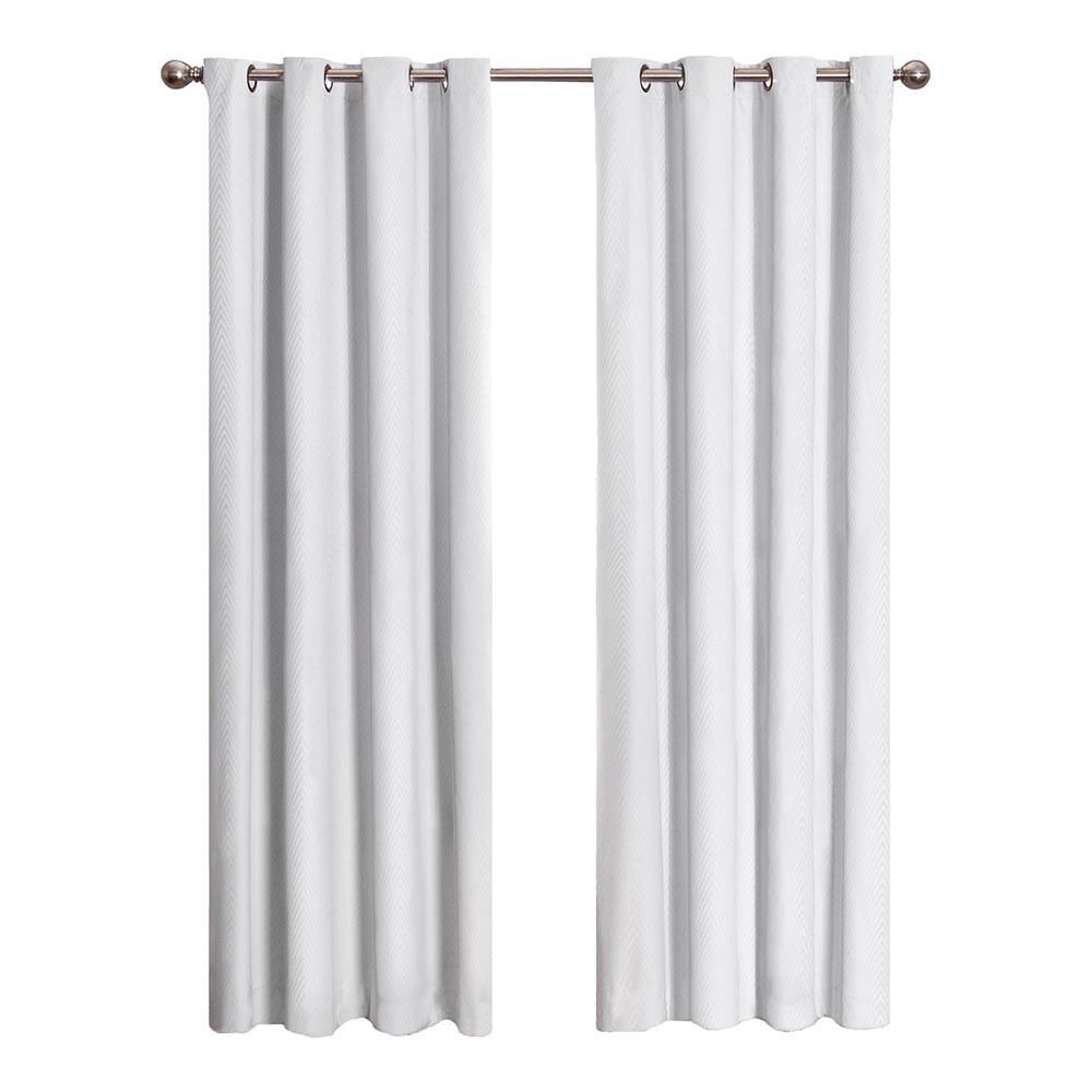 Eclipse cassidy blackout white polyester grommet curtain panel 84 in length