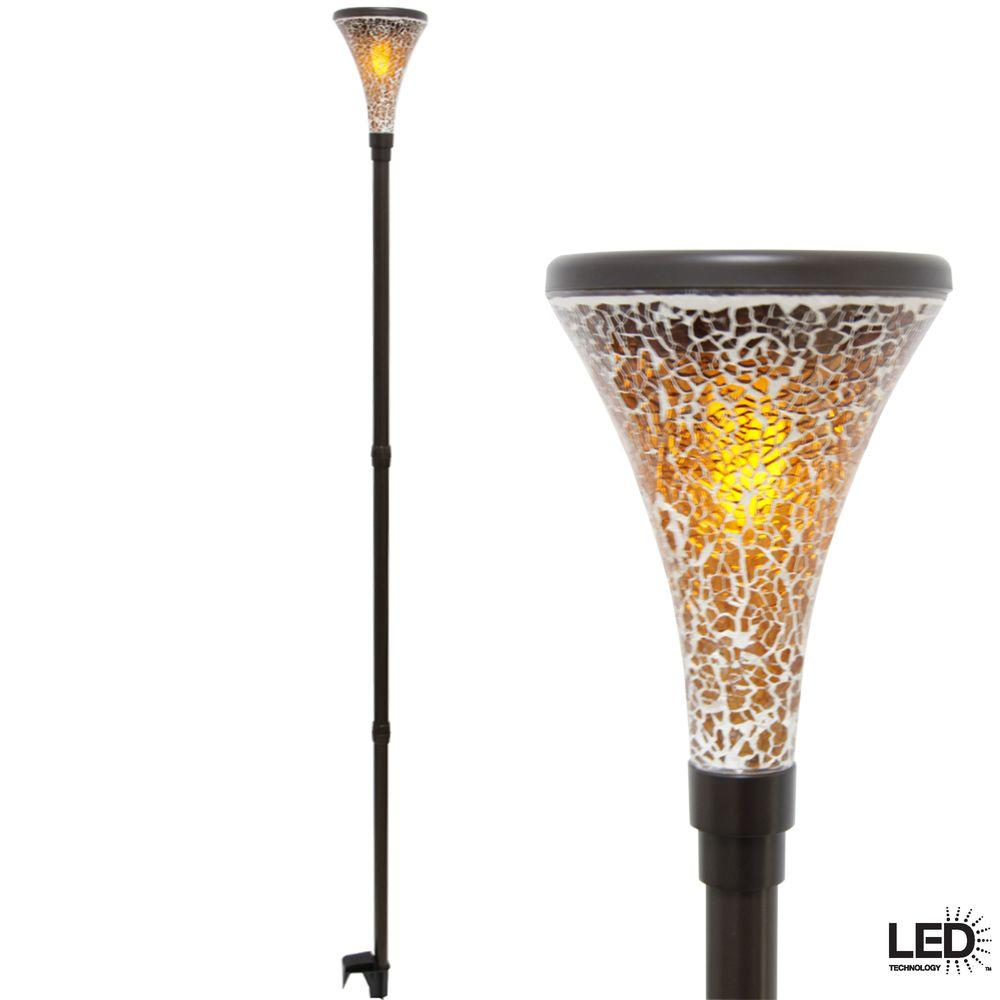 outdoor torch lighting. Hampton Bay Solar Dark Brown Outdoor Integrated LED Tiki Light With Mosaic Glass Shade (2 Torch Lighting