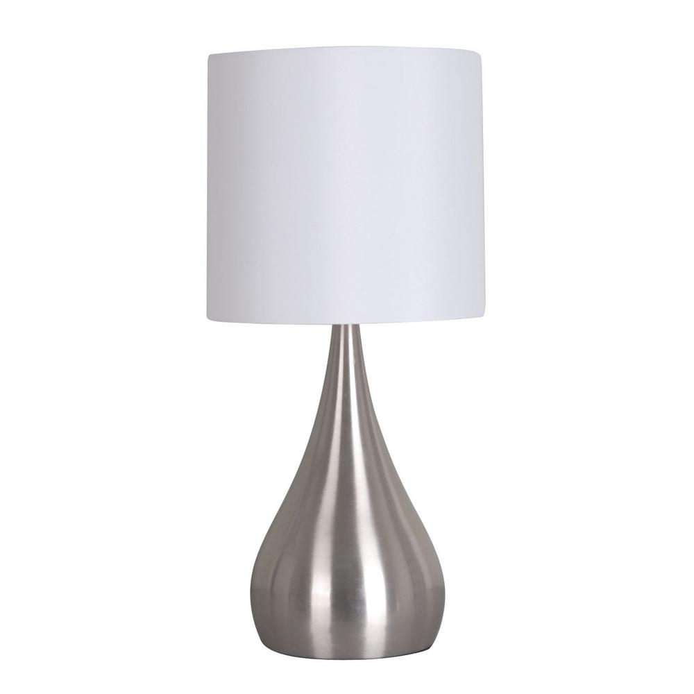 18 in. Silver Teardrop Accent Lamp with White Shade