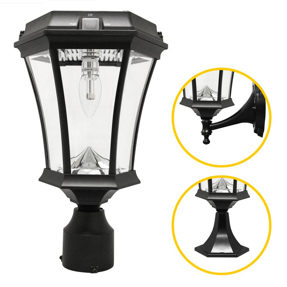 Victorian Bulb Series Single Black Integrated LED Outdoor Solar Lamp ...