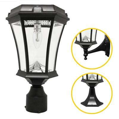 Victorian Bulb Series Single Black Integrated LED Outdoor Solar Lamp with 3-Mounting Options and GS Solar LED Light Bulb