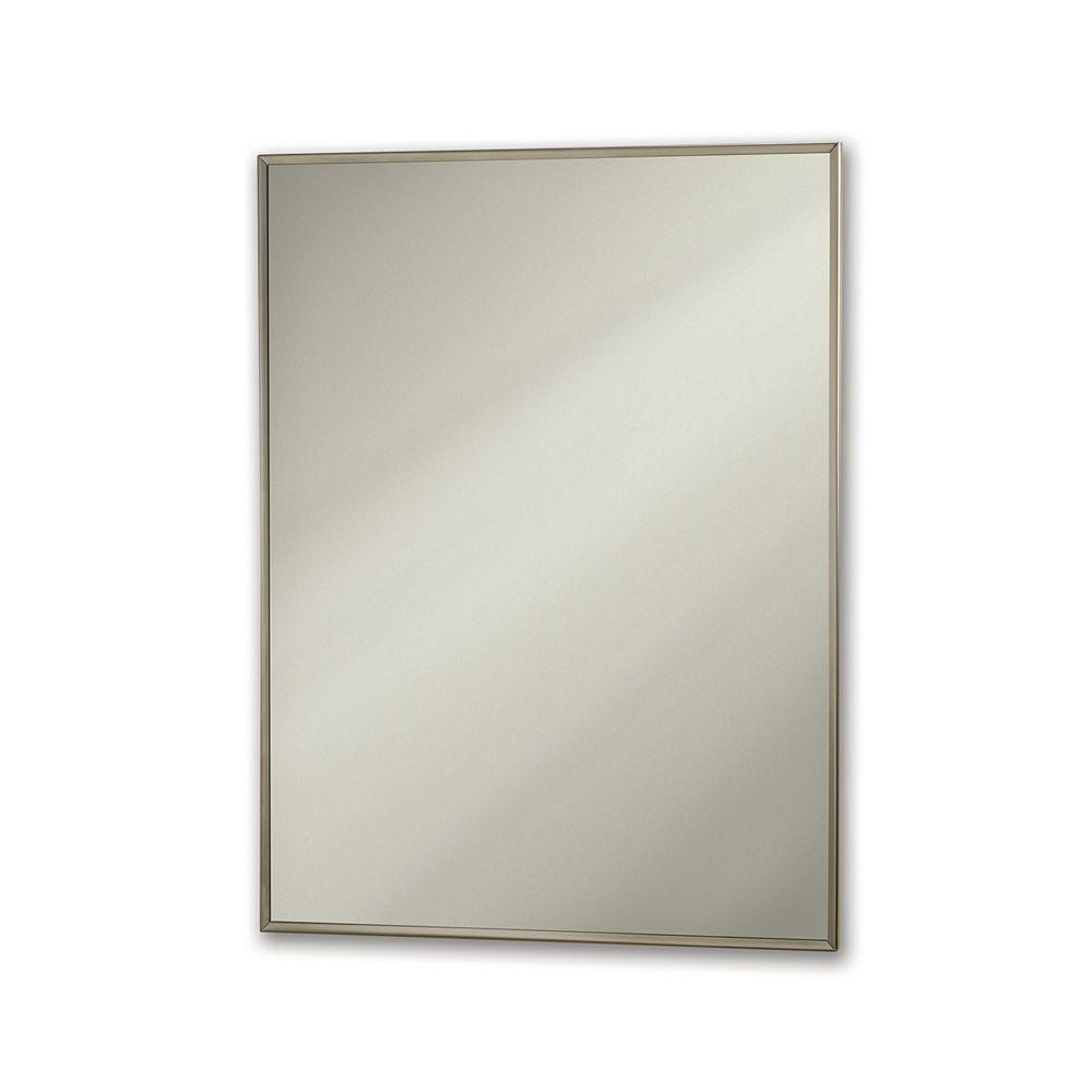 null Theft-proof 30 in. x 18 in. Framed Wall Mirror in Stainless Steel-DISCONTINUED