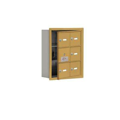 19100 Series 16.25 in. W x 18.75 in. H x 5.75 in. D 5 Doors Cell Phone Locker R-Mount Keyed Locks in Gold