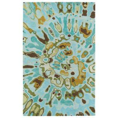 Brushstrokes Teal 10 ft. x 13 ft. Area Rug